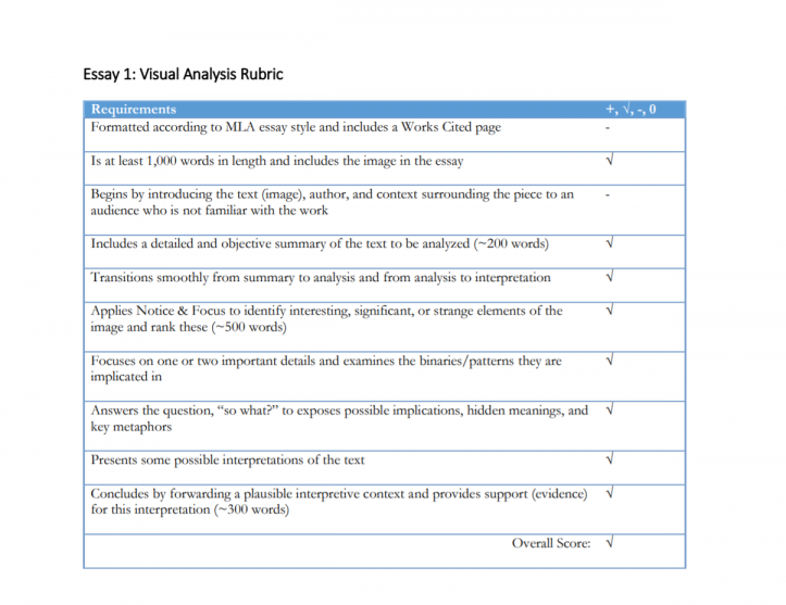 Visual Analysis Rubric