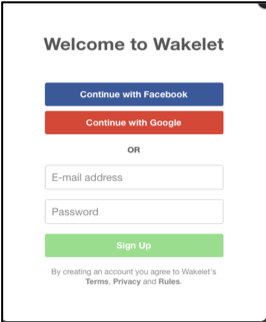 Image of sign up buttons for Wakelet