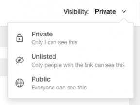 Image display of Wakelet's privacy options: private, unlisted, and public