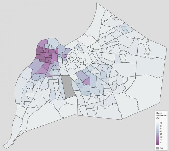 Metro Data Coalition map illustrating the percentage of residents who are black in each census tract in the city. The map shows that the northwestern corner of the city is where the highest percentages of black residents live.