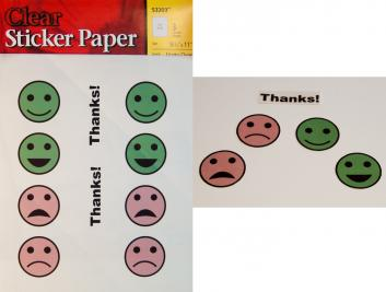 Left: Sticker paper printed with smiley and frowning faces and 'Thanks!' labels. Right: Smiling and frowning face stickers sealed with packing tape and cut out from page, along with a sealed 'Thanks!' sticker.