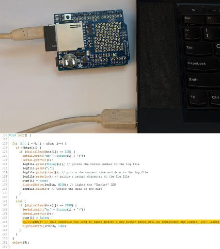 Top: Arduino with data logger shield attached and SD card inserted, connected to a computer via USB cable. Bottom: Screenshot of code with line 156 highlighted to show where to adjust the delay between logging button presses.