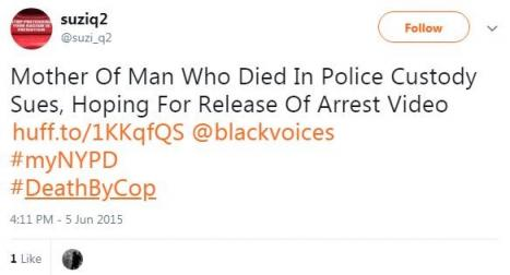 Screeenshot of suziq2opn's tweet mentioning @blackvoices