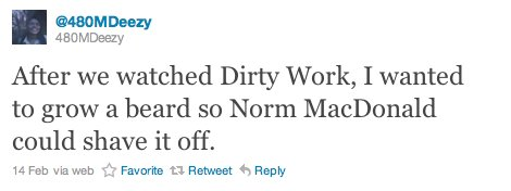 Student tweet: After we watched Dirty Work, I wanted to grow a beard so Norm MacDonald could shave it off.