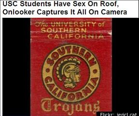 USC banner and headline 'USC Students Have Sex on Roof'