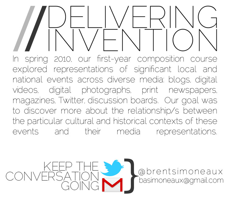 Delivering Invention: This project utilizes Prezi as an inventional space to explore the cultural and historical contexts of significant media events.